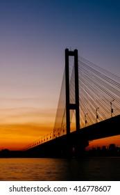 Southern Bridge Silhouette in Kiev
