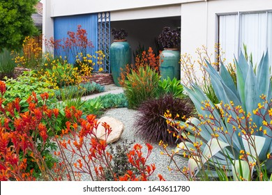 Southern California garden and landscape design for an apartment complex features a wide variety of colorful plants