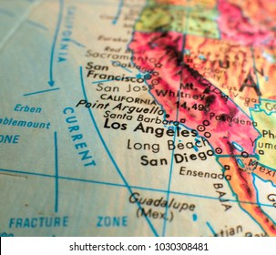 Southern California isolated focus macro shot on globe map for travel blogs, social media, web banners and backgrounds.
