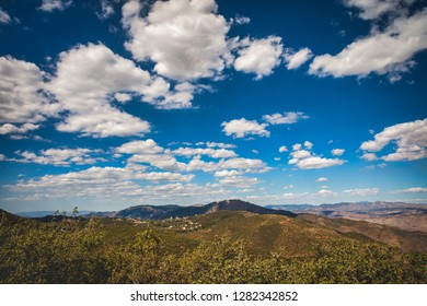 Southern California landscape near Julian, San Diego County; blue sky with clouds