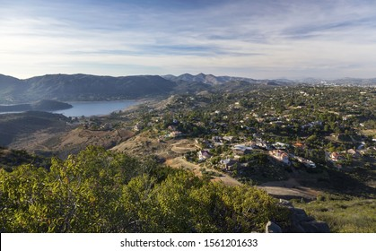 Southern California Landscape View of Forested Hills and Blue Lake Hodges in San Diego North County Inland from Summit of Bernardo Mountain in Poway