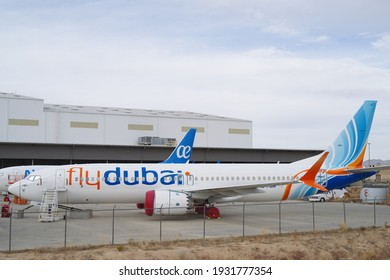 Southern California Logistics Airport, CA, USA - March 7, 2021: this image shows FlyDubai Boeing 737 MAX 8 with registration A6-FMN under maintenance.