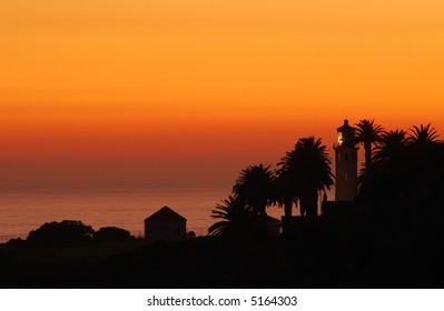Southern California's Point Vicente lighthouse at sunset