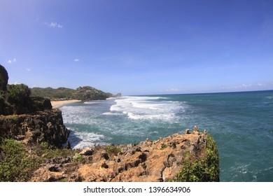 Southern cliff Region of Jogjakarta overlooking Indian ocean