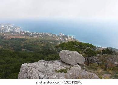 Southern coast of Crimea, view of the Koreiz and Gaspra resort villages