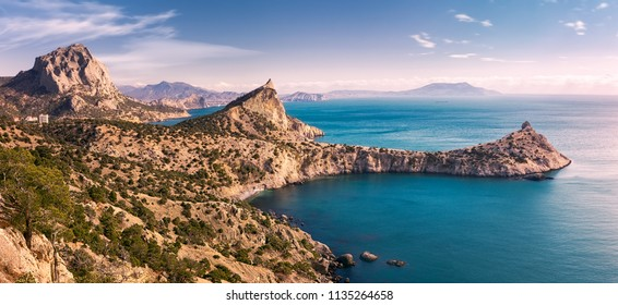 The southern coast of the Crimea in winter. New world (Novy Svet). Panorama. Crimea. Eastern Europe