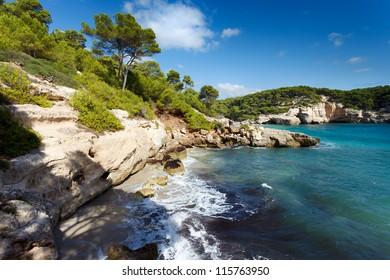 Southern coastline of Menorca,Cala Mitjana beach