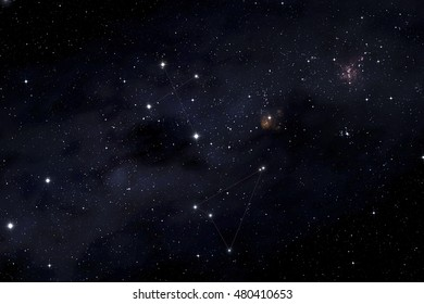 Southern cross and Musca constellations in the Milky Way background