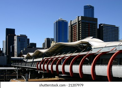 - Southern Cross Station (formerly known as Spencer Station) in Melbourne, Victoria, Australia with part of Melbourne's skyline in the background;