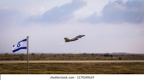 H̱aẕerim, Southern District, Israel - Jun 28, 2018: An israeli fighter aircraft takesoff in  the new pilots graduation ceremony