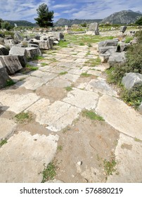 Southern end of the excavated Roman-Byzantine street once lined with arcades of shops on both sides and probably spanned by an arched gate and an agora built on top of the shops. Xanthos-Lycia-Turkey.