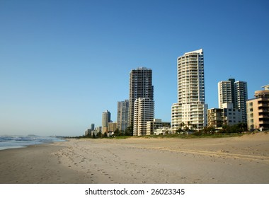 The Southern end of the Surfers Paradise skyline in Australia seen from the beach.