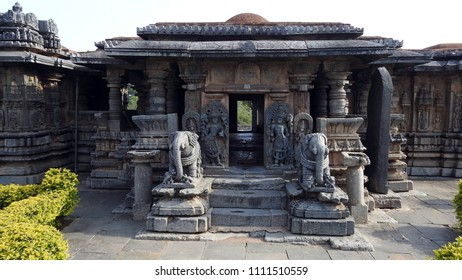 Southern entrance at Bucesvara Temple, Koravangala, Hassan District of Karnataka state, India. This Hoyasala architectural temple was built in 1173 A.D.