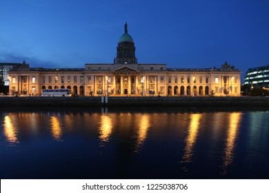 The southern facade of the Customs House at night in Dublin