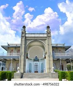 The southern facade of Vorontsov Palace. Black Sea, Russia, Crimea, Alupka
