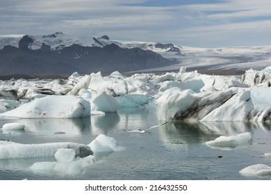 Southern Iceland's Jokulsarlon Glacier Lagoon and a gliding Seagull