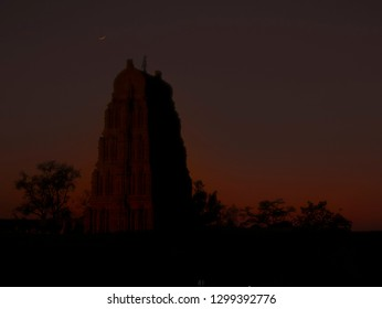 Southern India Gopuram with a Crescent Moon over the Sky