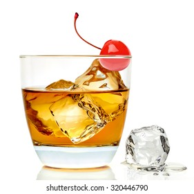 Southern Manhattan cocktail with maraschino cherry isolated on white background