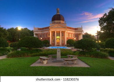 Southern Mississippi University Campus Admin Building in Pre Dawn Light.