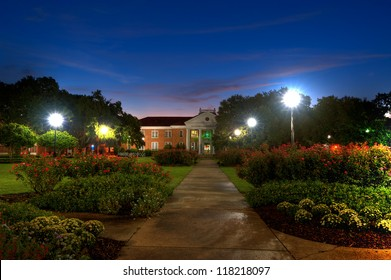 Southern Mississippi University Campus in Pre Dawn Light.