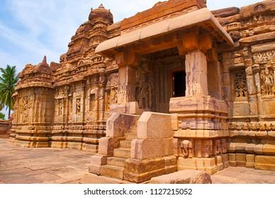 Southern mukha mandapa, Mallikarjuna Temple, Pattadakal temple complex, Pattadakal, Karnataka. Virupaksha temple is seen in the background.