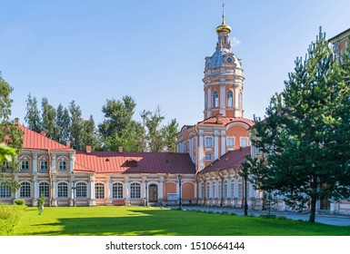 Southern seminary building, Southwest tower (ancient storage and library) and Metropolitan house, part of the Saint Alexander Nevsky Lavra or Saint Alexander Nevsky Monastery in St. Petersburg, Russia