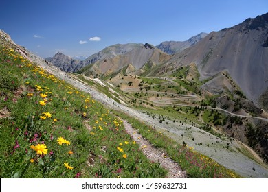 The Southern side of Izoard pass with the Casse deserte (a lunar and rocky circus), Queyras Regional Natural Park, Southern Alps, France, Europe, hautes alpes. Picture taken from a hiking path