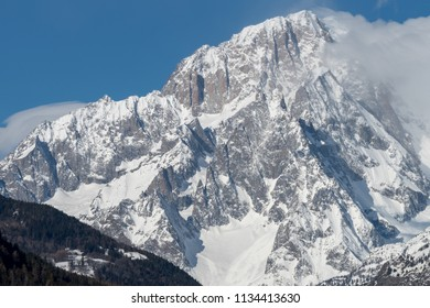 The southern slope of Mont Blanc seen from Valdigne (upper Aosta Valley, Italy)