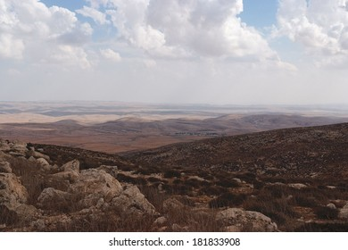 Southern slopes of Hebron mountain with Negev desert at the horizon