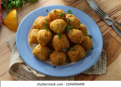 Southern snack corn ball deep fried hushpuppies with dipping sauce