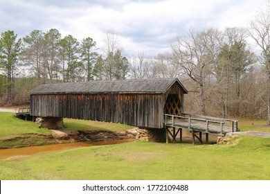 southern style vintage rural wooden covered bridge