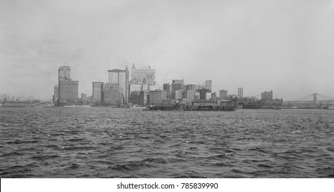 Southern tip of Manhattan Island seen from an approaching boat in the harbor, c. 1920