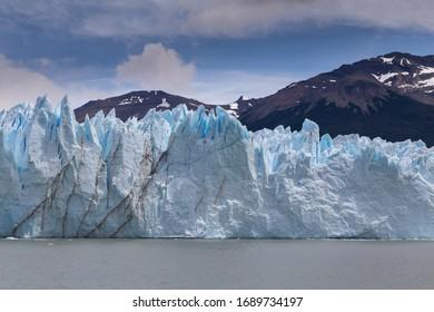 Southern wall of Perito Moreno glacier in Los Glaciares National Park, Santa Cruz province, Argentina