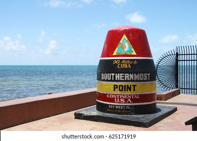 Southernmost Point Continental USA at Key West, Florida. The picture shows the famous landmark of the southernmost point of the USA.