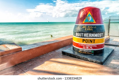 Southernmost Point landmark on a beautiful day, Key West, Florida.
