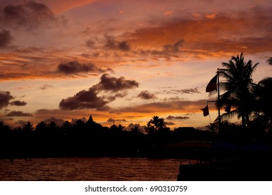 Southernmost point in the US, Key West beach, beautiful sunset, clouds dancing, wonderful colors of the sky...