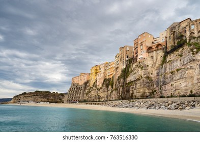 South-Italy coast-town Tropea, a is major tourist destination with lots of history, a beautiful beach and nice old buildings. Captured in november 2017 after the tourist season.