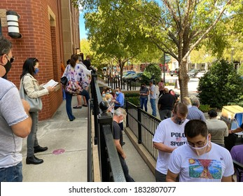 Southlake, TX USA: October 13 2020 - Voters line up to vote early for the 2020 Presidential election in Texas.