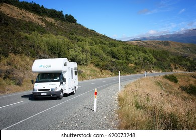 SOUTHLAND, NEW ZEALAND - MARCH 6, 2009: Ford Transit camper van in Southland, New Zealand. New Zealand had 2.7 million visitor arrivals in 2014.