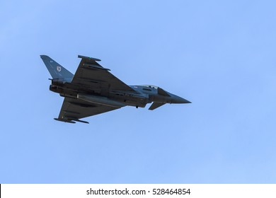 SOUTHPORT, ENGLAND, SEPTEMBER 19, 2015, Eurofighter Typhoon Multirole fighter performing extreme manoeuvres at Southport airshow