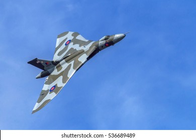 SOUTHPORT, ENGLAND, SEPTEMBER 19th, 2015. Avro Vulcan XH558 displaying to the crowds at Southport airshow