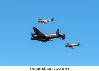SOUTHPORT, UK JULY 8 2018:  A photograph documenting the Battle of Britain Memorial Flight performing at the annual Southport Airshow