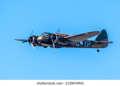 SOUTHPORT, UK JULY 8 2018: An ex-RAF Bristol Belnheim performs a display in the clear skies above Southport Beach for the annual airshow