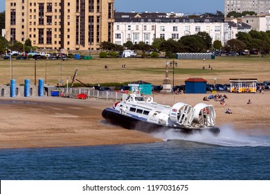 Southsea. England. 07.29.18. Hovercraft at Southsea near Portsmouth, England. Commercial  passenger service between Southsea and Ryde on the Isle of White.