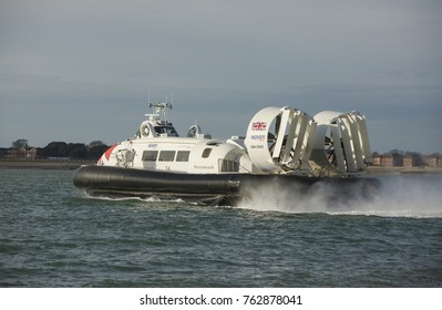 SOUTHSEA ENGLAND; 26TH NOVEMBER 2017. Hover Travels Island Flyer departing for the Isle of Wight. The worlds only commercial Hovercraft operation between Ryde and Portsmouth.