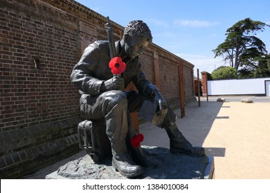 Southsea, Portsmouth/England - April 29 2019: Statue A Soldier of World War Two outside the D-Day Story Museum on the seafront