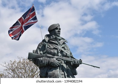 Southsea, Portsmouth/England - April 29 2019 - Sculpture of Yomper on Southsea seafront Portsmouth
