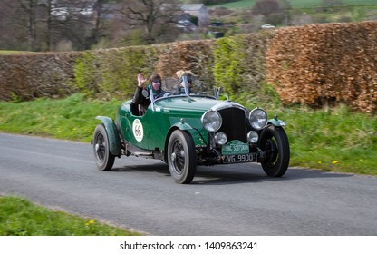 SOUTHWAITE, ENGLAND - APRIL 5:  A 1936 Bentley Derby 4.25 climbs Southwaite Hill in Cumbria on April 5, 2019.  The car is taking part in the 11th Flying Scotsman Rally, a free public-event.