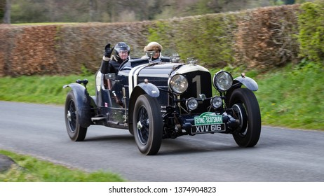 SOUTHWAITE, ENGLAND - APRIL 5:  A 1948 Bentley Special climbs Southwaite Hill in Cumbria, England on April 5, 2019.  The car is taking part in the 11th Flying Scotsman Rally, a free public-event.