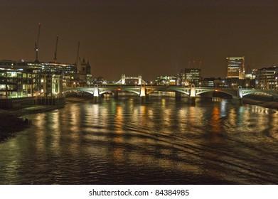 Southwark bridge across River Thames at London
